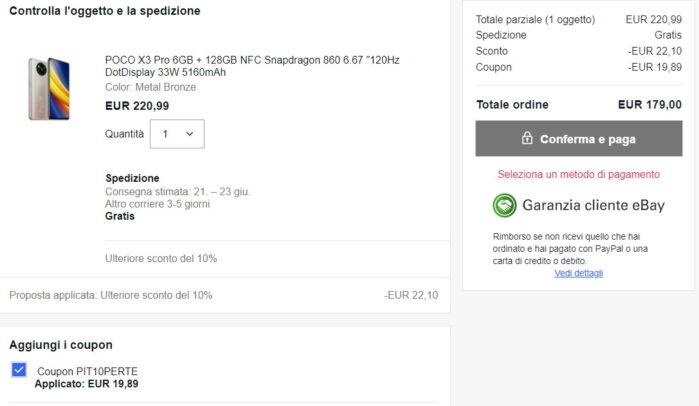 Poco X3 Pro prezzo 179 euro doppio sconto Ebay