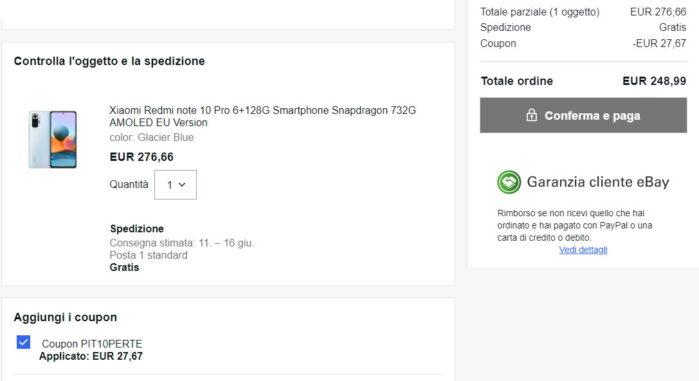 Redmi Note 10 Pro 6-128GB prezzo 249 euro Ebay