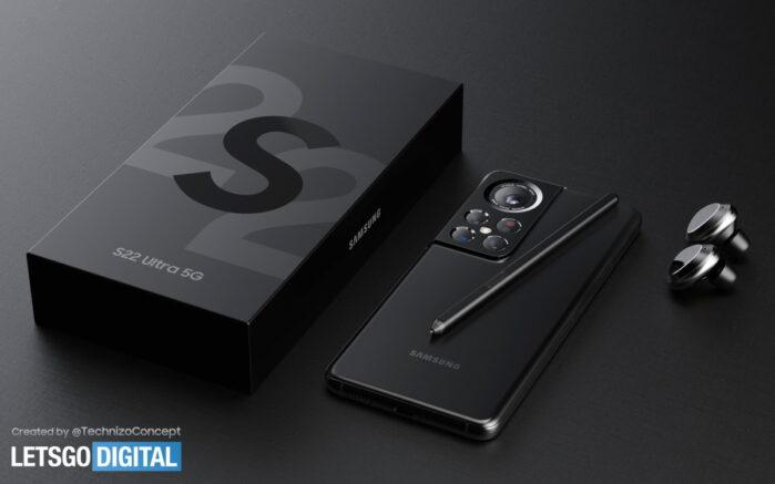 Samsung Galaxy S22 Ultra design possibile