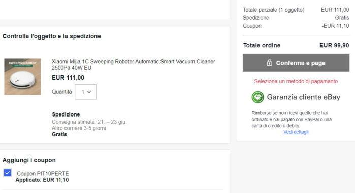 Xiaomi Mijia 1C coupon Ebay