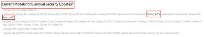 galaxy a70 e a20e adesso aggiornamenti ogni 6 mesi