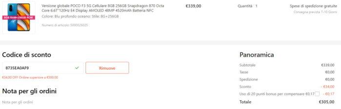 Poco F3 5G 31 agosto 2021 coupon Gshopper prezzo