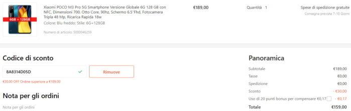 Poco M3 Pro 5G Coupon Gshopper agosto 2021