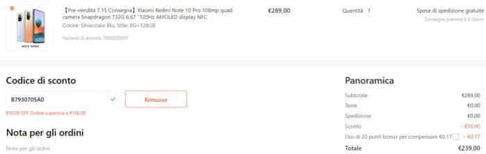 Redmi Note 10 Pro 8-128GB coupon 13 luglio 2021 Gshopper offerta prezzo