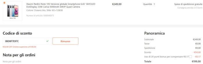 Redmi Note 10S coupon Gshopper prezzo