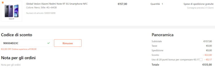 Redmi Note 9T 64GB NFC coupon Gshopper agosto 2021