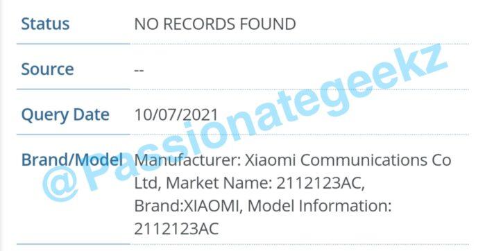 Xiaomi MI 12 rumors codice seriale