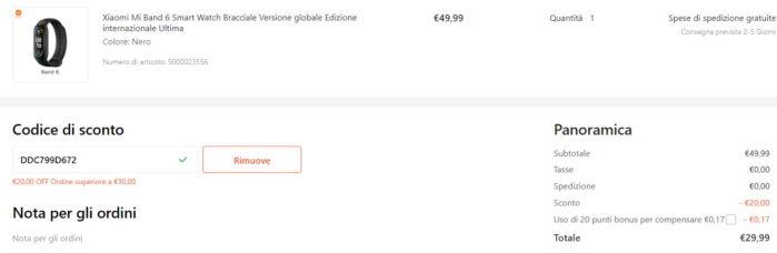 Xiaomi Mi Band 6 prezzo Coupon Gshopper Agosto 2021