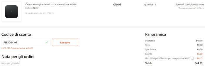 Xiaomi Mi Box S 44,99 euro Coupon Gshopper Agosto 2021