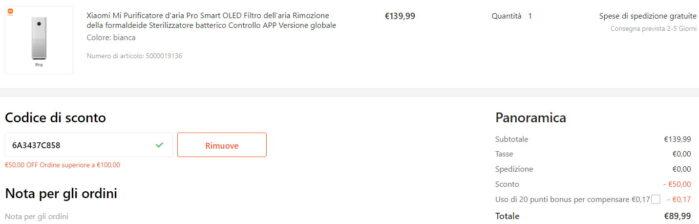 Xiaomi Mi Purificatore Pro coupon 20 luglio 2021 Gshopper