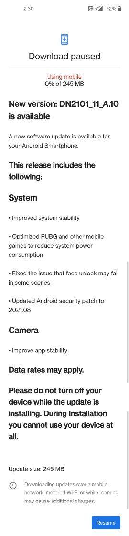 OnePlus Nord 2 aggiornamento OxygenOS 11.3.A.10