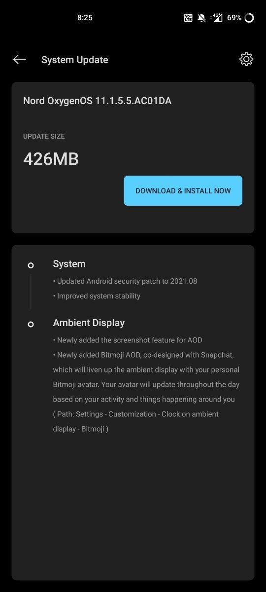 OxygenOS 11.1.5.5 OnePlus Nord change-log