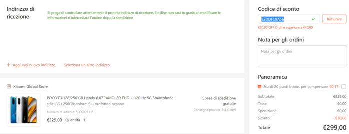 Poco F3 Gshopper coupon da Italia prezzo