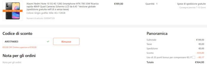 Redmi Note 10 5G coupon Agosto Gshopper