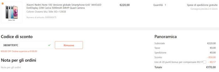 Redmi Note 10S 6-128GB prezzo cupon Gshopper agosto 2021