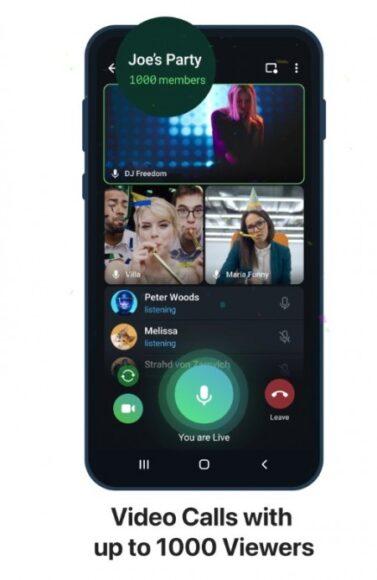 Telegram video chiamate 1000 persone