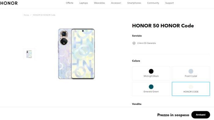 Honor 50 arriva in Italia prezzo da definire