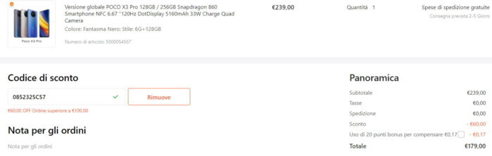 Poco X3 Pro Coupon Settembre 2021 Gshopper