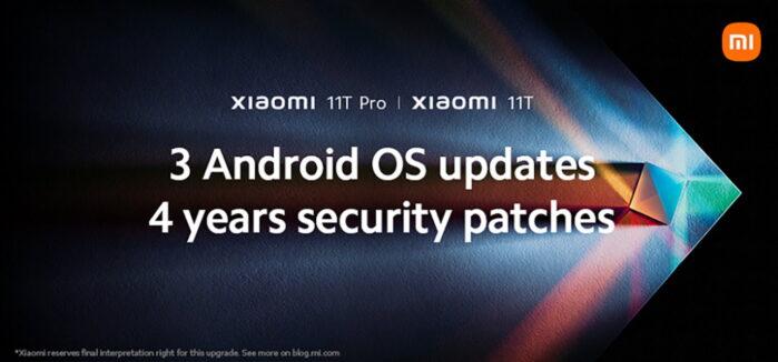 Xiaomi 11T e 11T Pro con 3 anni di aggiornamenti Android e 4 anni sicurezza