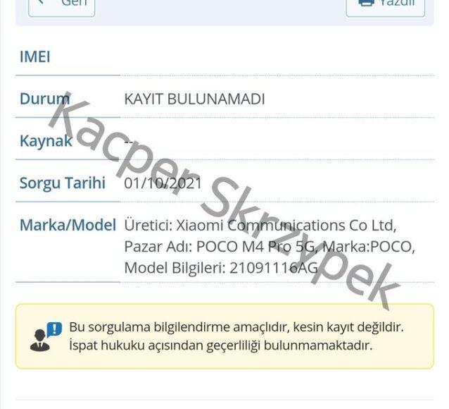 Poco M4 Pro 5G certificazioni 5